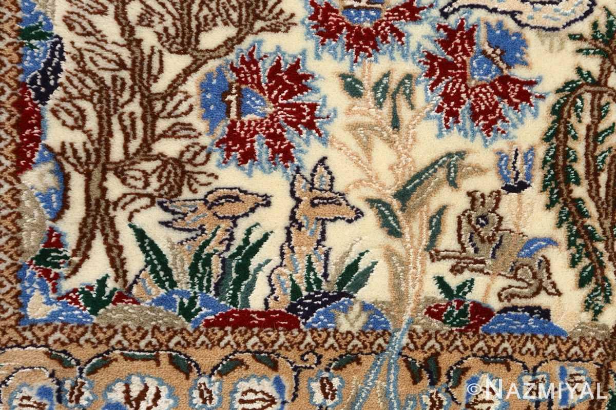 tree of life design vintage nain persian rug 51156 deer Nazmiyal