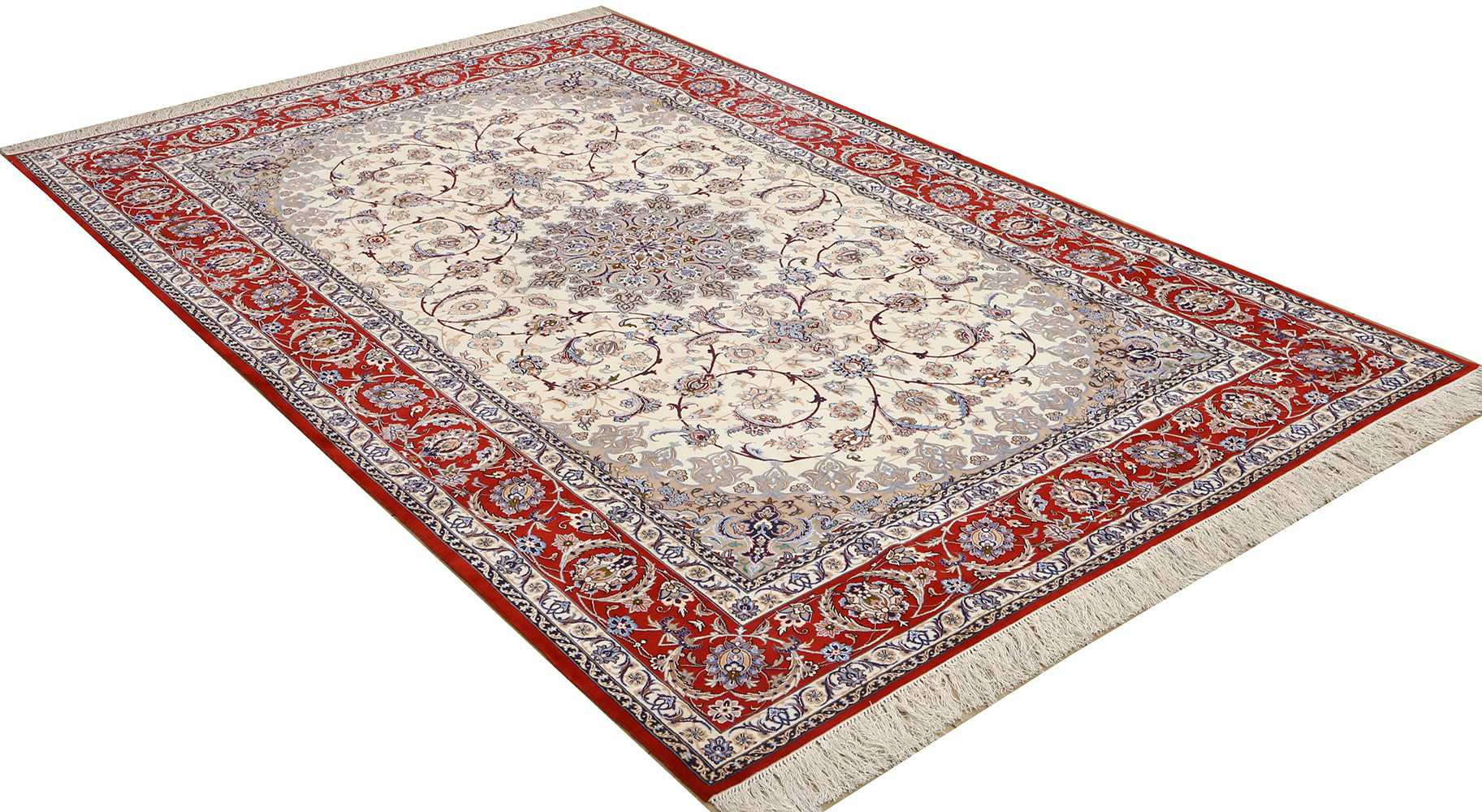 vintage isfahan persian rug 51140 side Nazmiyal