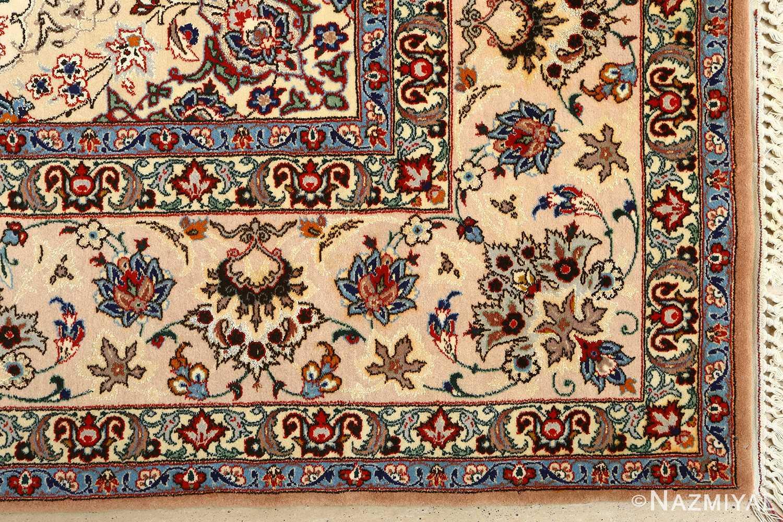 vintage ivory isfahan persian rug 51172 corner Nazmiyal