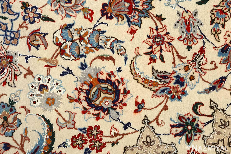 vintage ivory isfahan persian rug 51172 field Nazmiyal