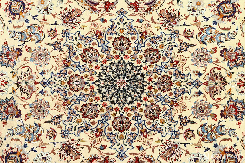 vintage ivory isfahan persian rug 51172 medallion Nazmiyal