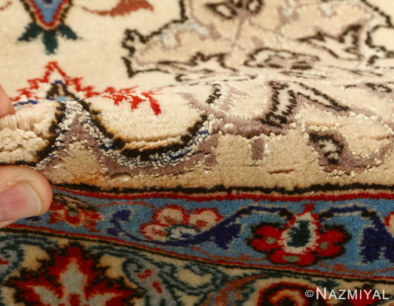vintage ivory isfahan persian rug 51172 pile Nazmiyal