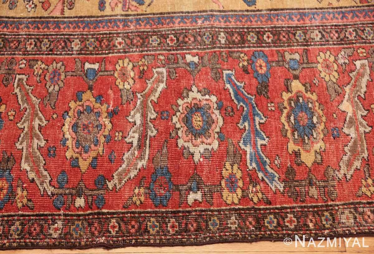 yellow background square antique sultanabad persian rug 49338 border Nazmiyal