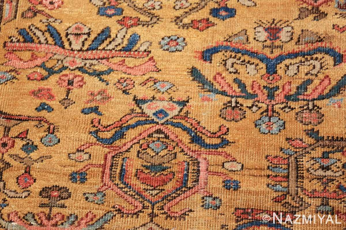 yellow background square antique sultanabad persian rug 49338 closeup Nazmiyal