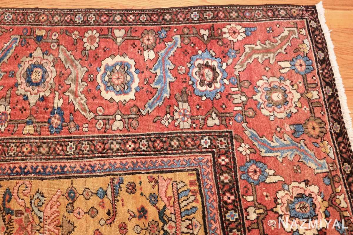 yellow background square antique sultanabad persian rug 49338 corner Nazmiyal