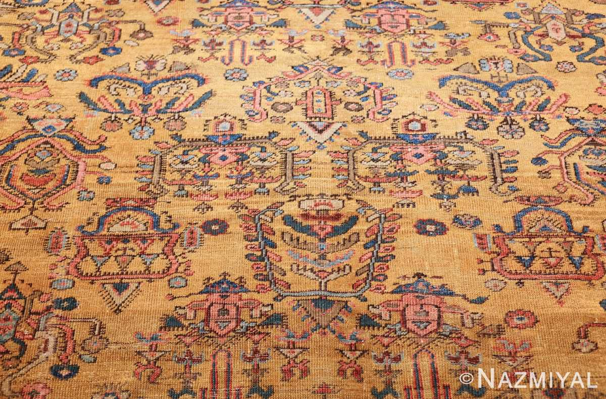 yellow background square antique sultanabad persian rug 49338 design Nazmiyal