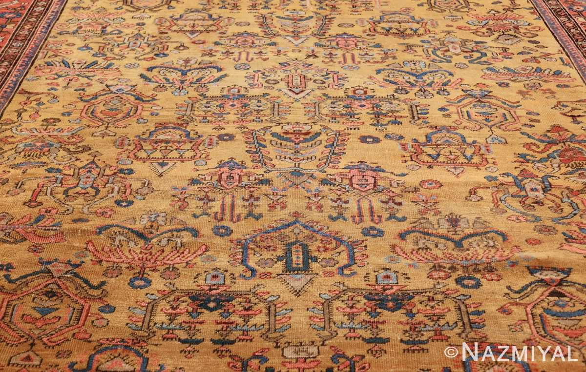 yellow background square antique sultanabad persian rug 49338 field Nazmiyal