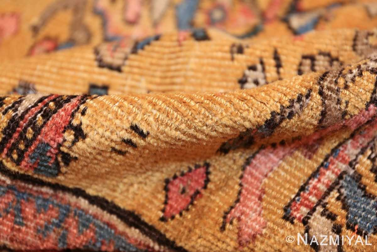 yellow background square antique sultanabad persian rug 49338 pile Nazmiyal