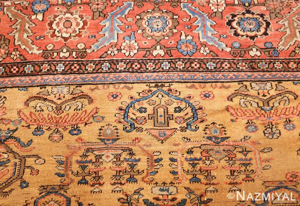 yellow background square antique sultanabad persian rug 49338 top Nazmiyal