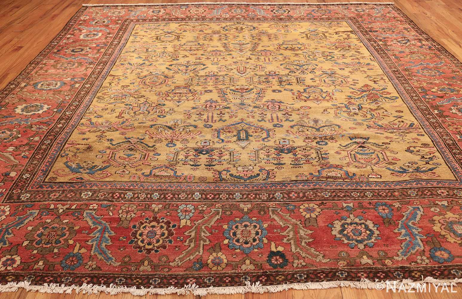 Beautiful Square Yellow Antique Sultanabad Persian Rug