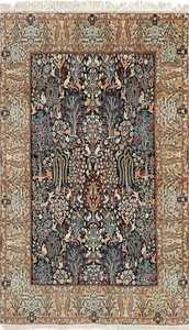 black animal motif vintage nain persian rug 51159 Nazmiyal