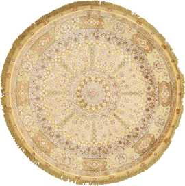 silk and gold threading round vintage tabriz persian rug 51130 Nazmiyal
