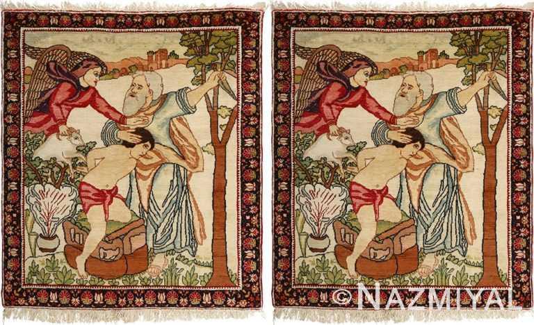 pair of antique biblical kerman persian rug 51173 Nazmiyal