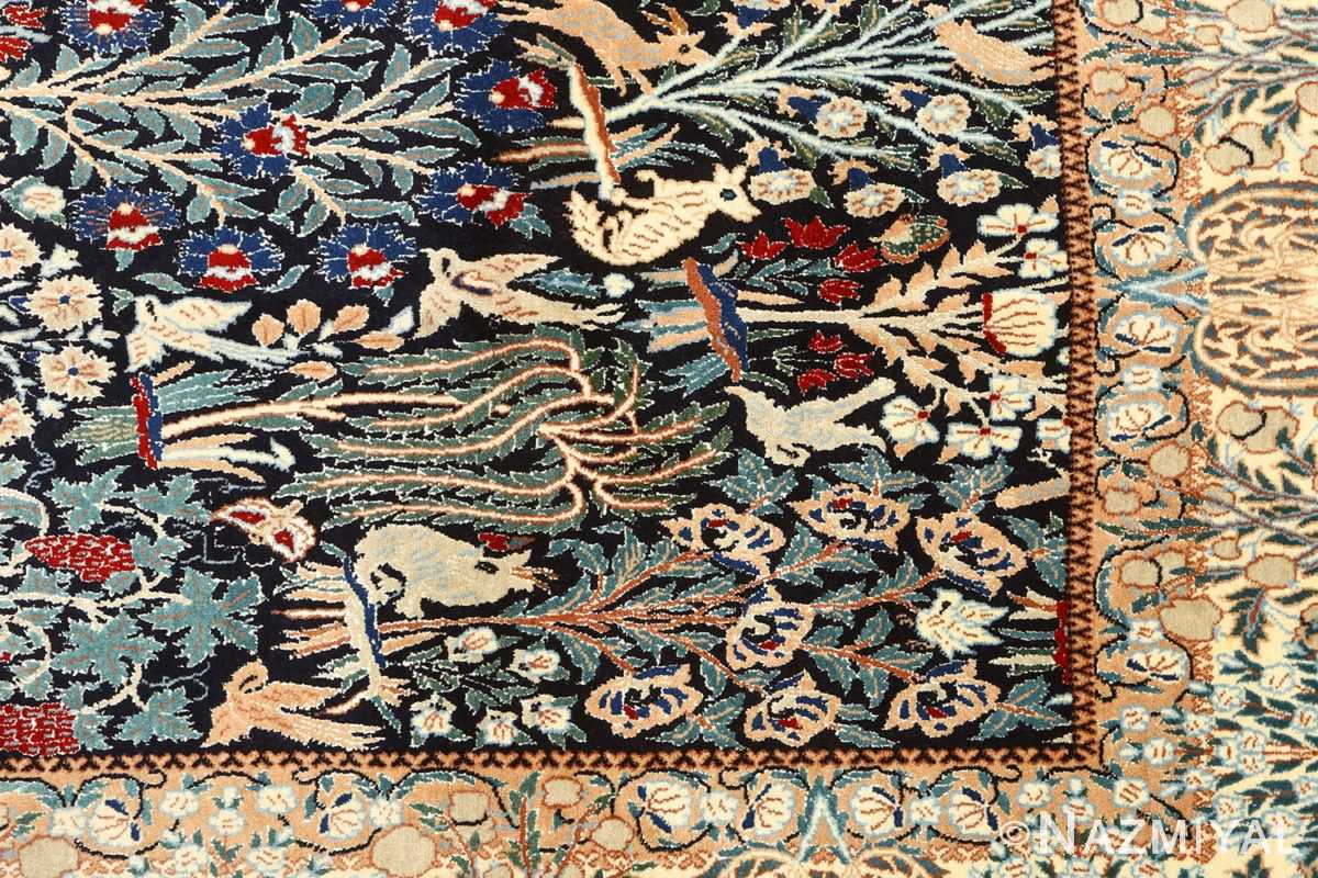 black animal motif vintage nain persian rug 51159 design Nazmiyal