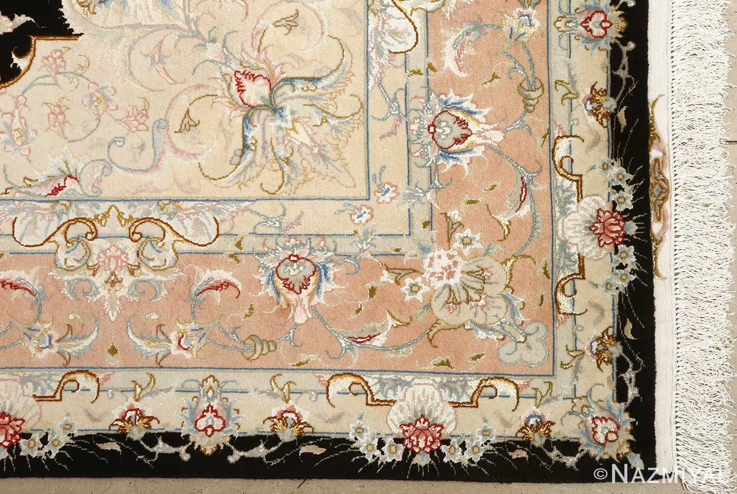 black background vintage tabriz persian rug 51160 corner Nazmiyal