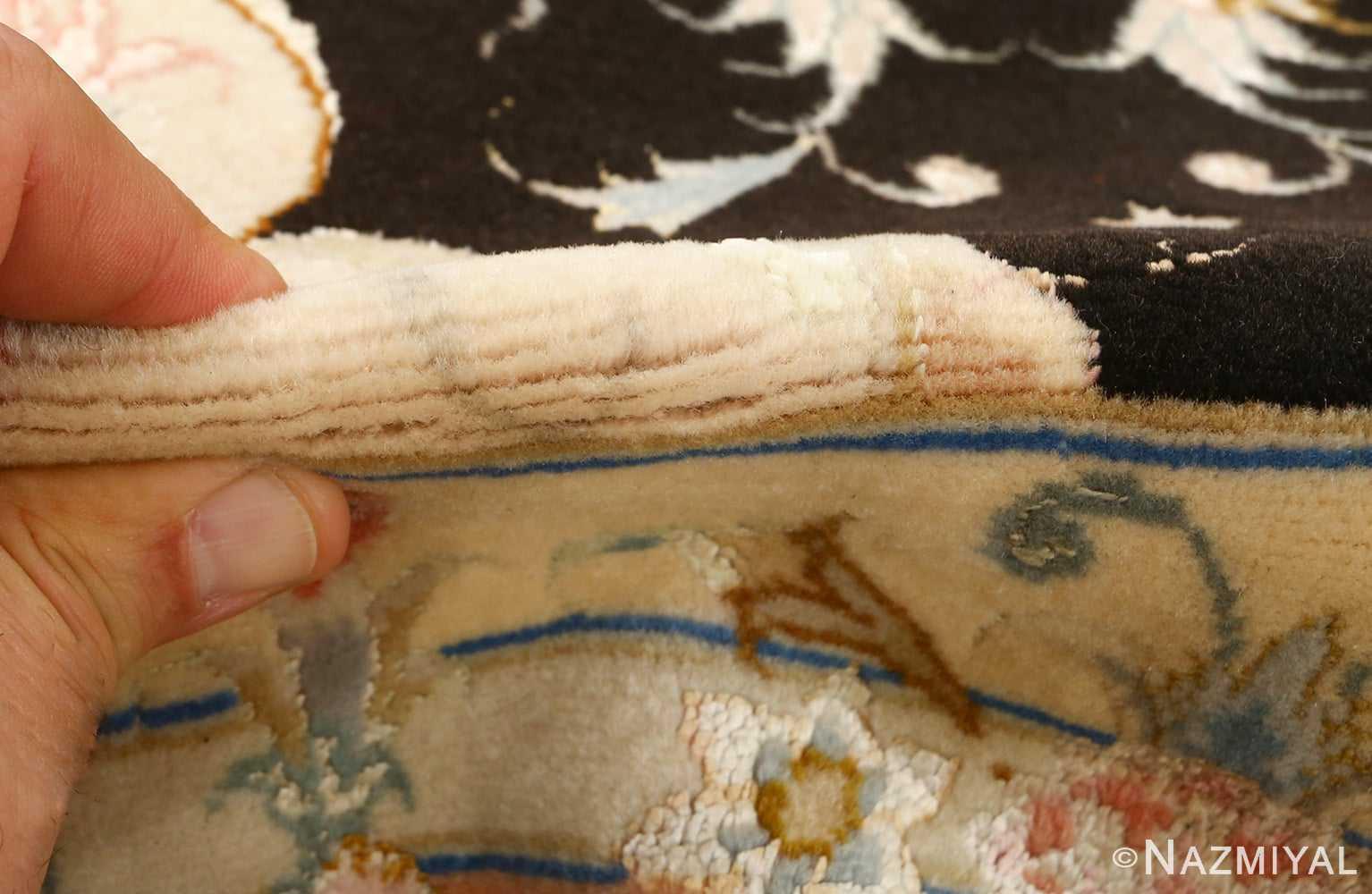 black background vintage tabriz persian rug 51160 pile Nazmiyal
