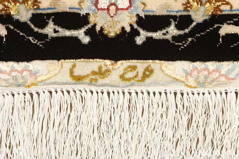 black background vintage tabriz persian rug 51160 signature Nazmiyal