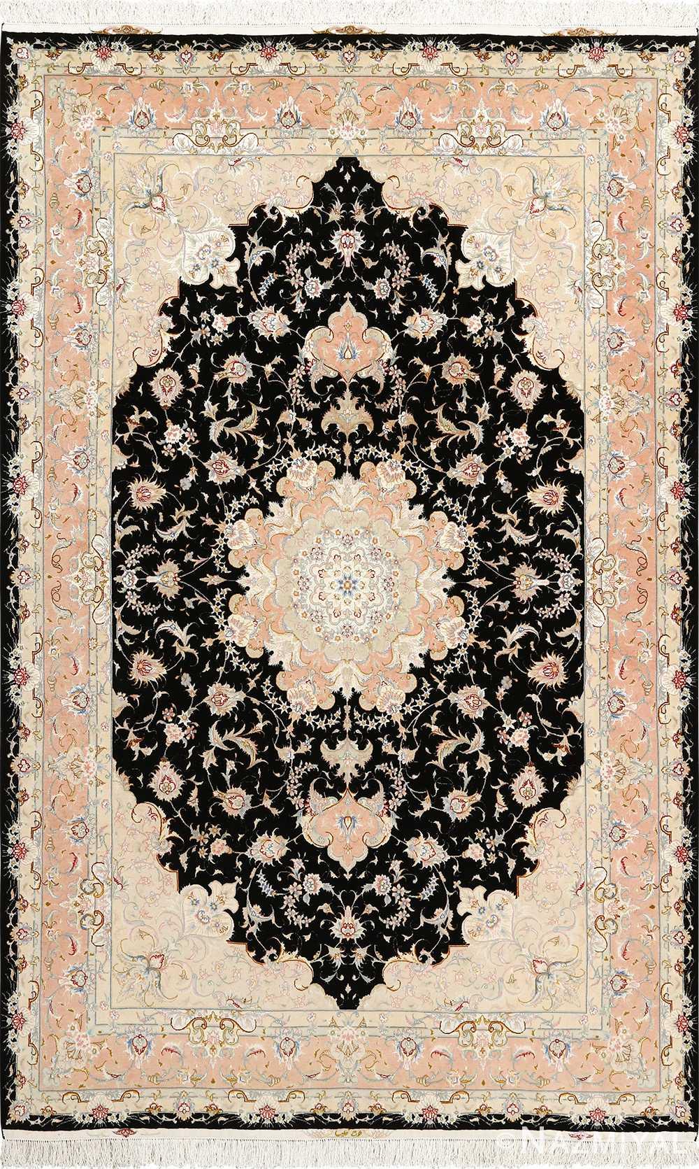 black background vintage tabriz persian rug 51160 Nazmiyal