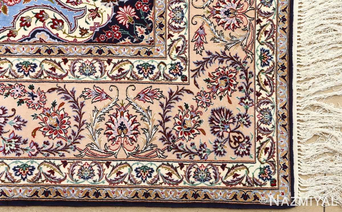 blue background vintage isfahan persian rug 51146 corner Nazmiyal