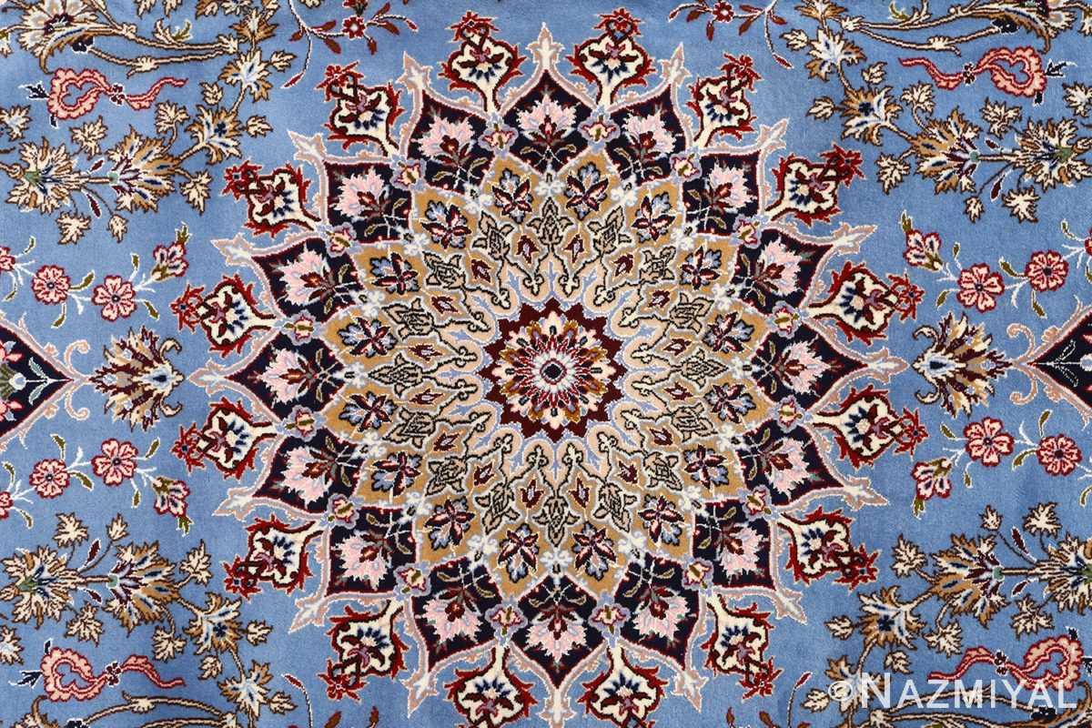 blue background vintage isfahan persian rug 51146 medallion Nazmiyal