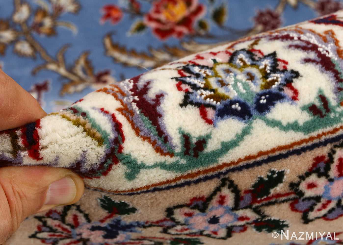 blue background vintage isfahan persian rug 51146 pile Nazmiyal