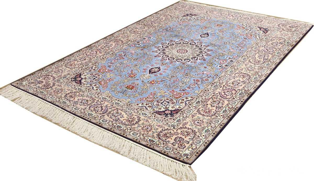 blue background vintage isfahan persian rug 51146 side Nazmiyal