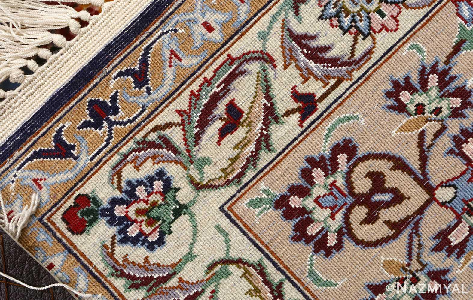 blue background vintage isfahan persian rug 51146 weave Nazmiyal
