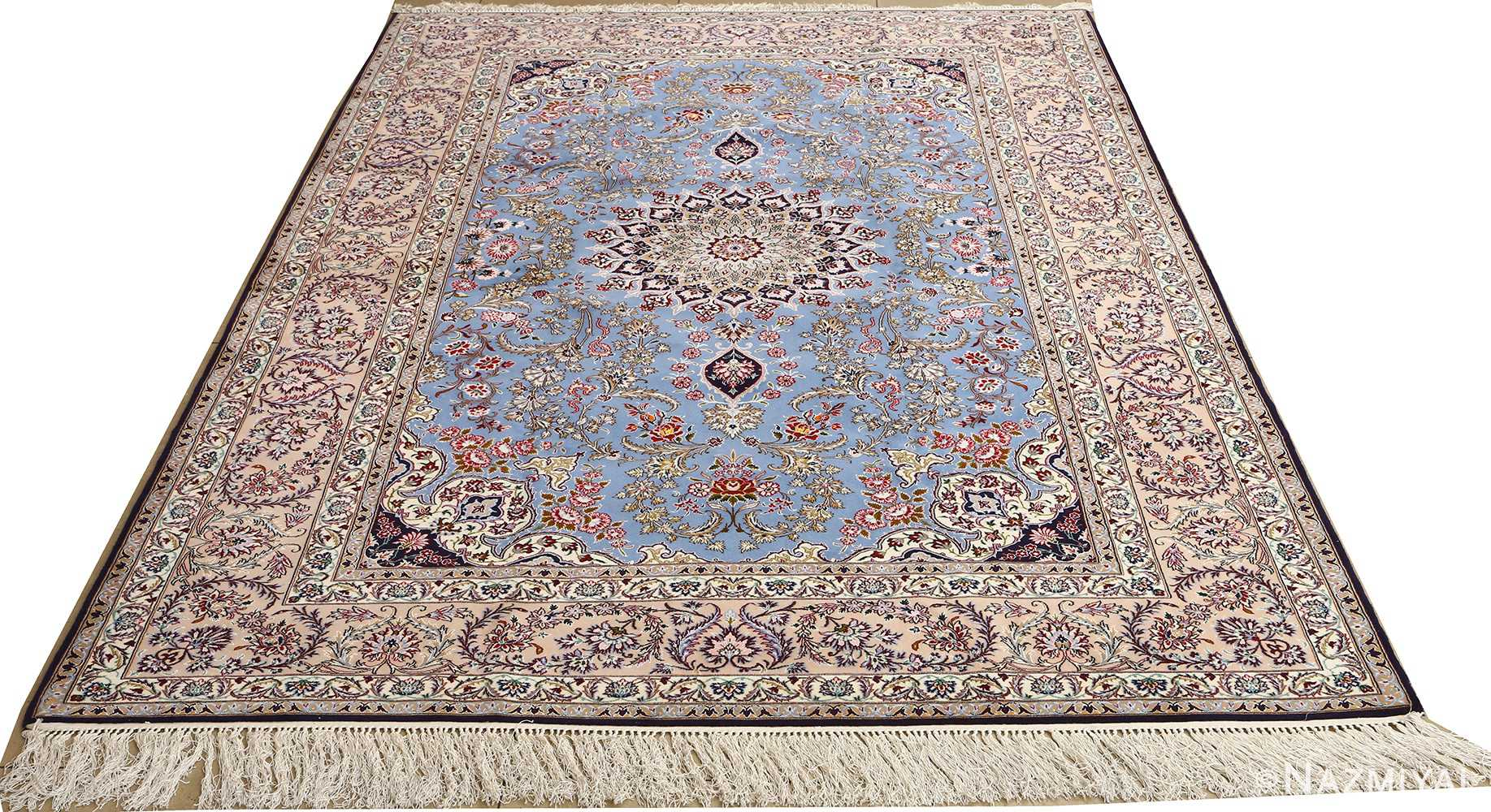 blue background vintage isfahan persian rug 51146 whole Nazmiyal