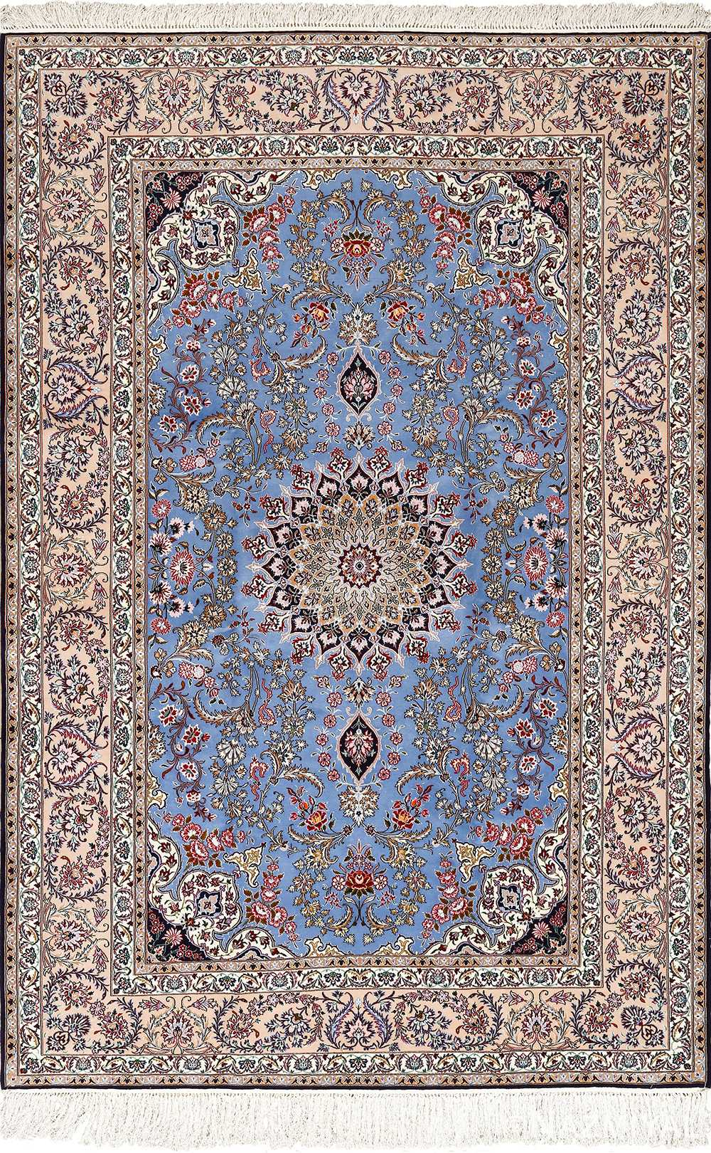 blue background vintage isfahan persian rug 51146 Nazmiyal