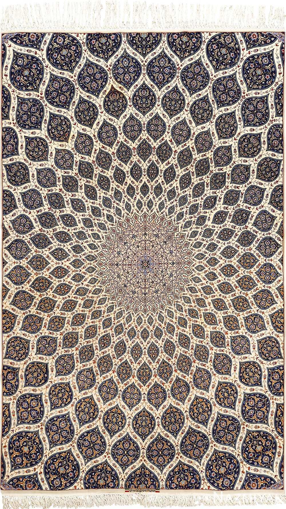 geometric vintage isfahan persian rug 51166 Nazmiyal