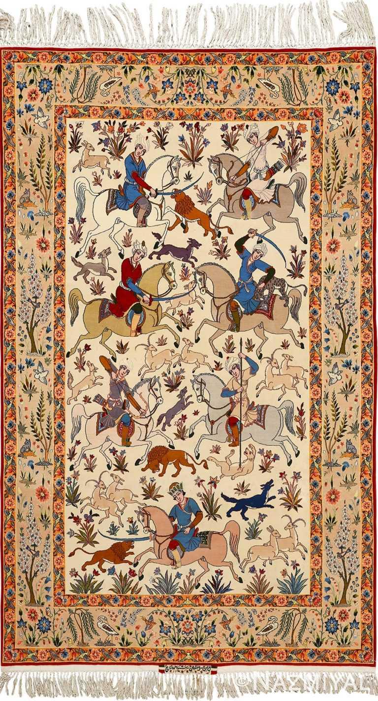 huntig scene vintage isfahan persian rug 51169 Nazmiyal