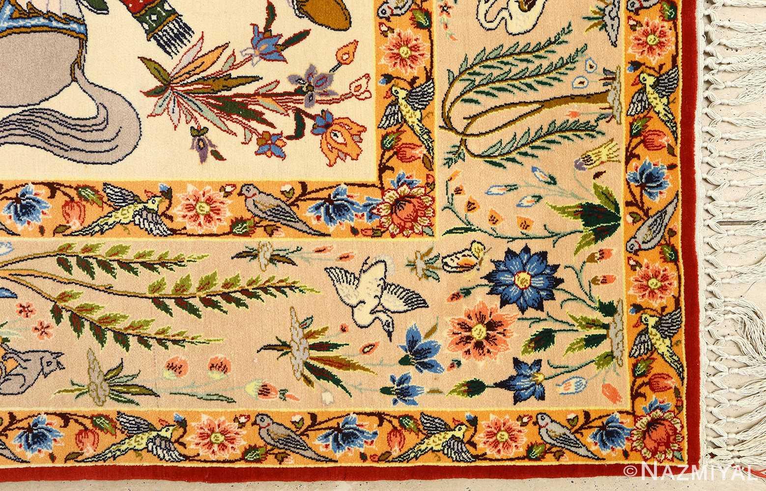 huntig scene vintage isfahan persian rug 51169 corner Nazmiyal