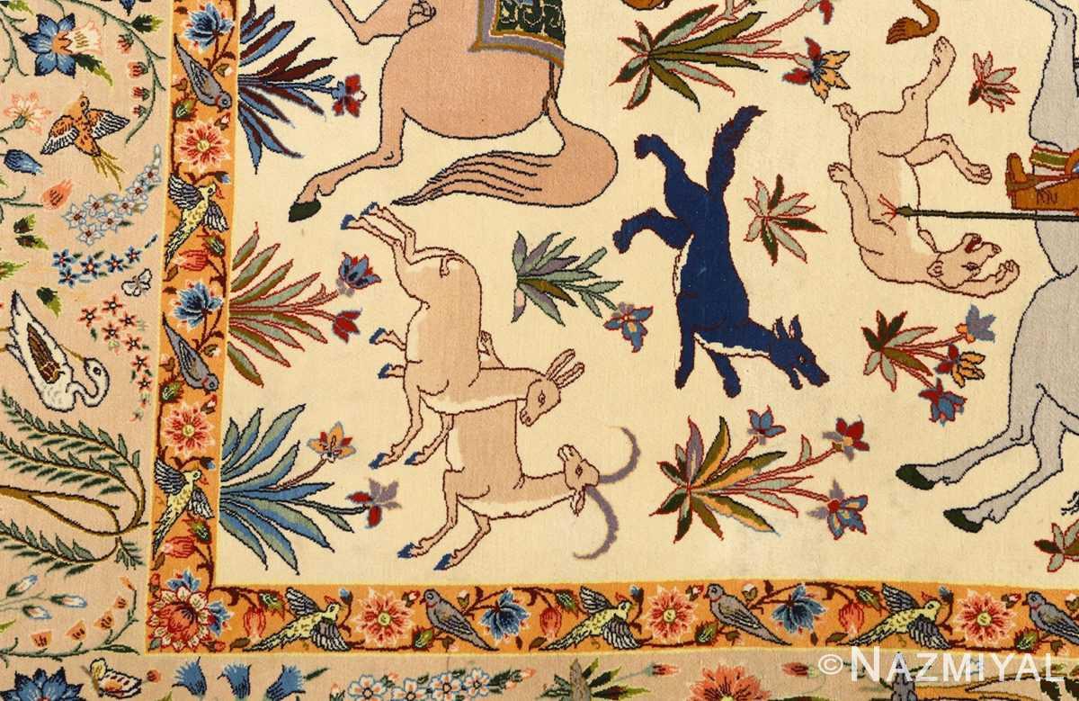 huntig scene vintage isfahan persian rug 51169 deers Nazmiyal