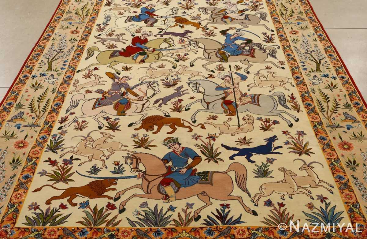huntig scene vintage isfahan persian rug 51169 field Nazmiyal