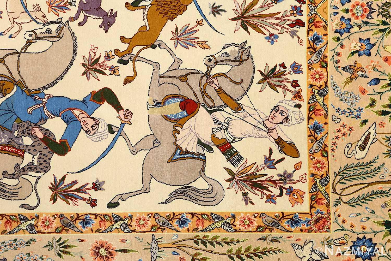 huntig scene vintage isfahan persian rug 51169 horseman Nazmiyal