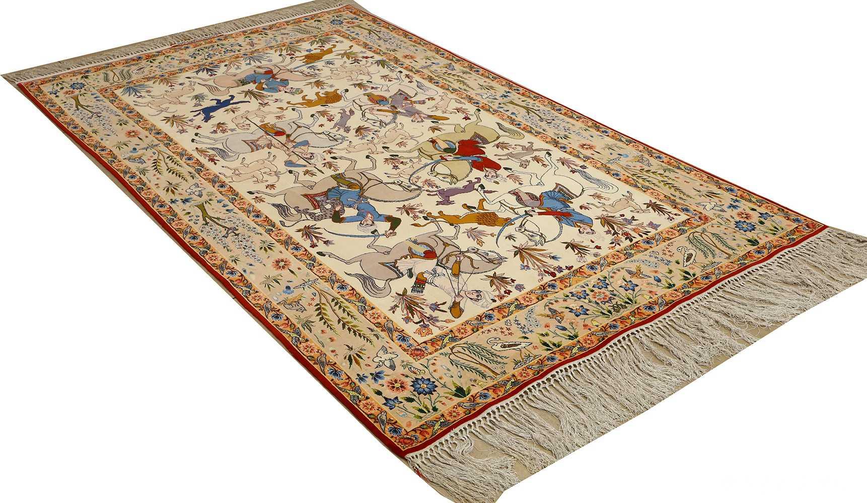 huntig scene vintage isfahan persian rug 51169 side Nazmiyal