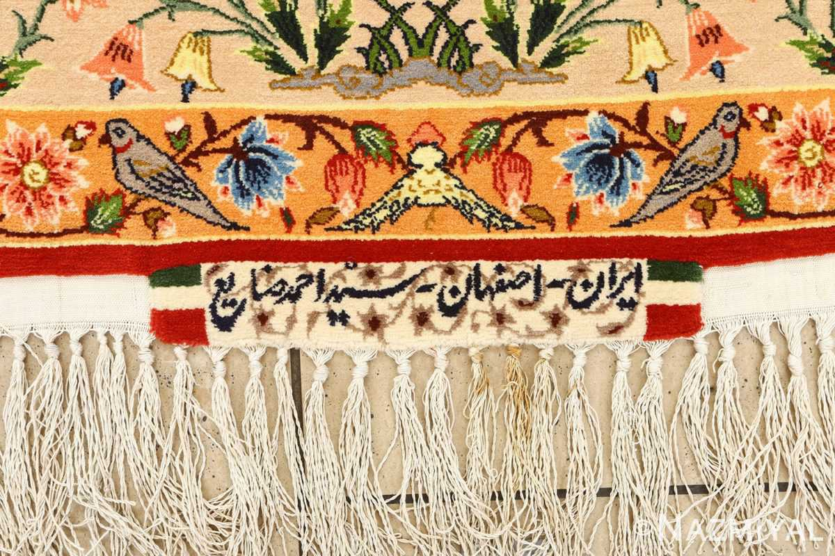 huntig scene vintage isfahan persian rug 51169 signature Nazmiyal
