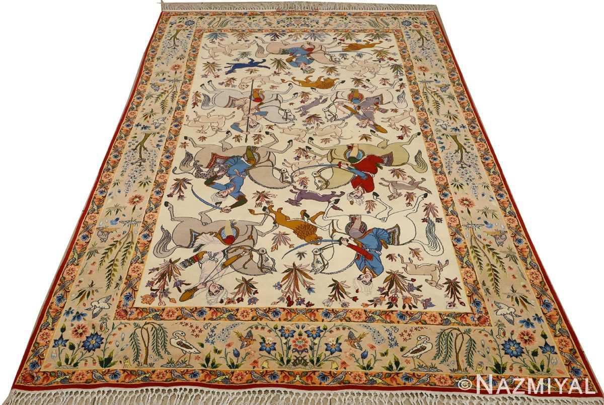huntig scene vintage isfahan persian rug 51169 whole Nazmiyal
