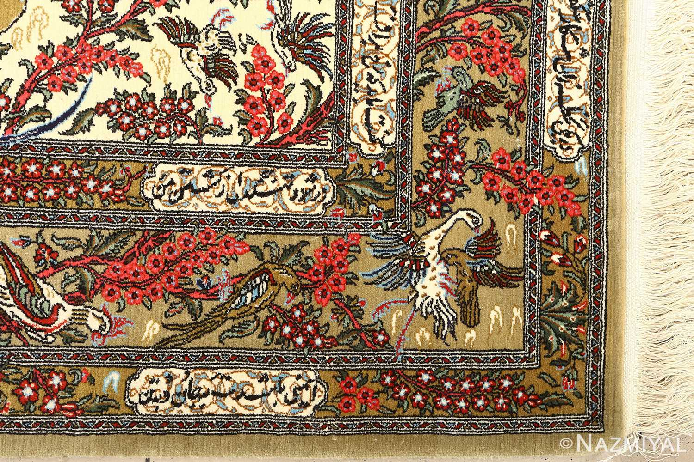 hunting scene vintage qum persian rug 51170 corner Nazmiyal