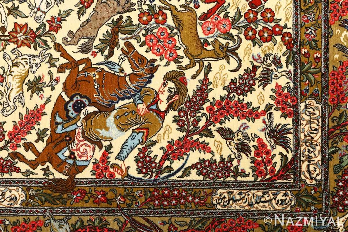 hunting scene vintage qum persian rug 51170 horse Nazmiyal