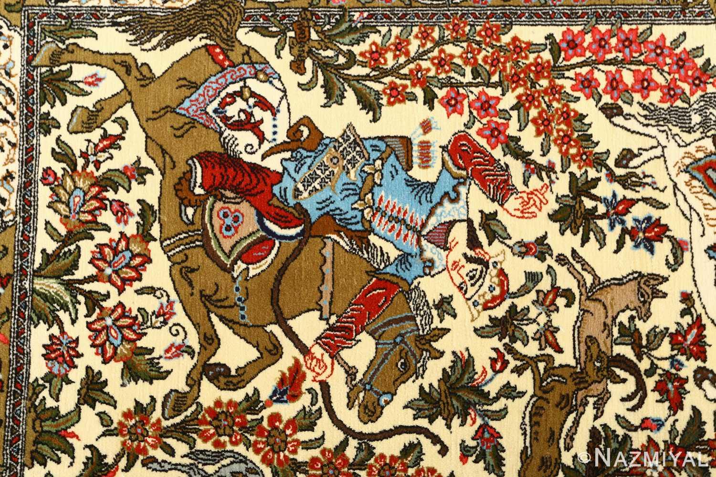 hunting scene vintage qum persian rug 51170 hunter Nazmiyal
