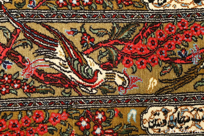 hunting scene vintage qum persian rug 51170 parrot Nazmiyal