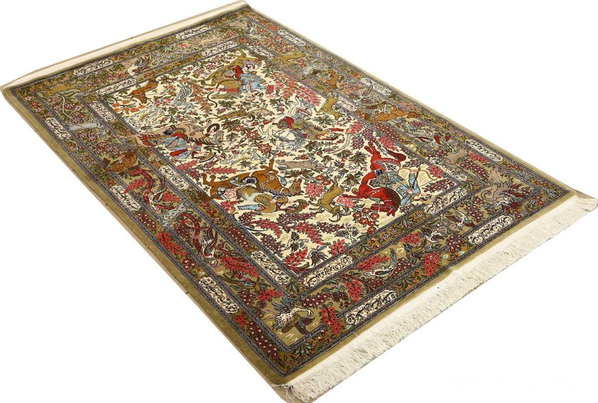 hunting scene vintage qum persian rug 51170 side Nazmiyal