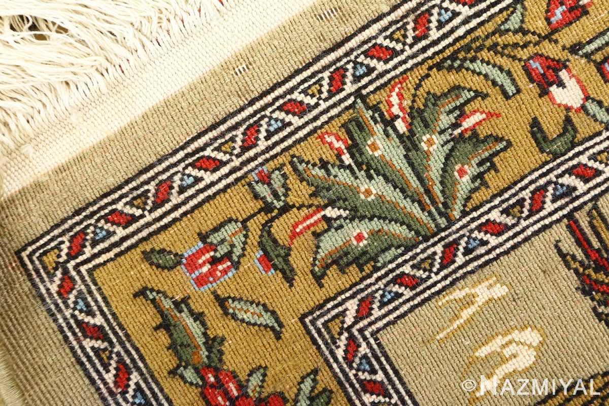 hunting scene vintage qum persian rug 51170 weave Nazmiyal
