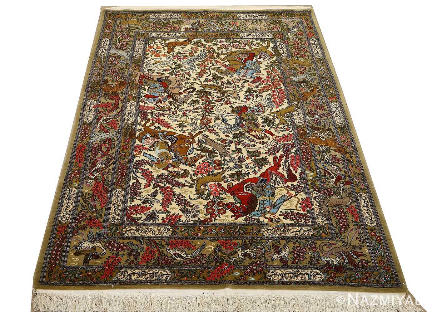 hunting scene vintage qum persian rug 51170 whole Nazmiyal