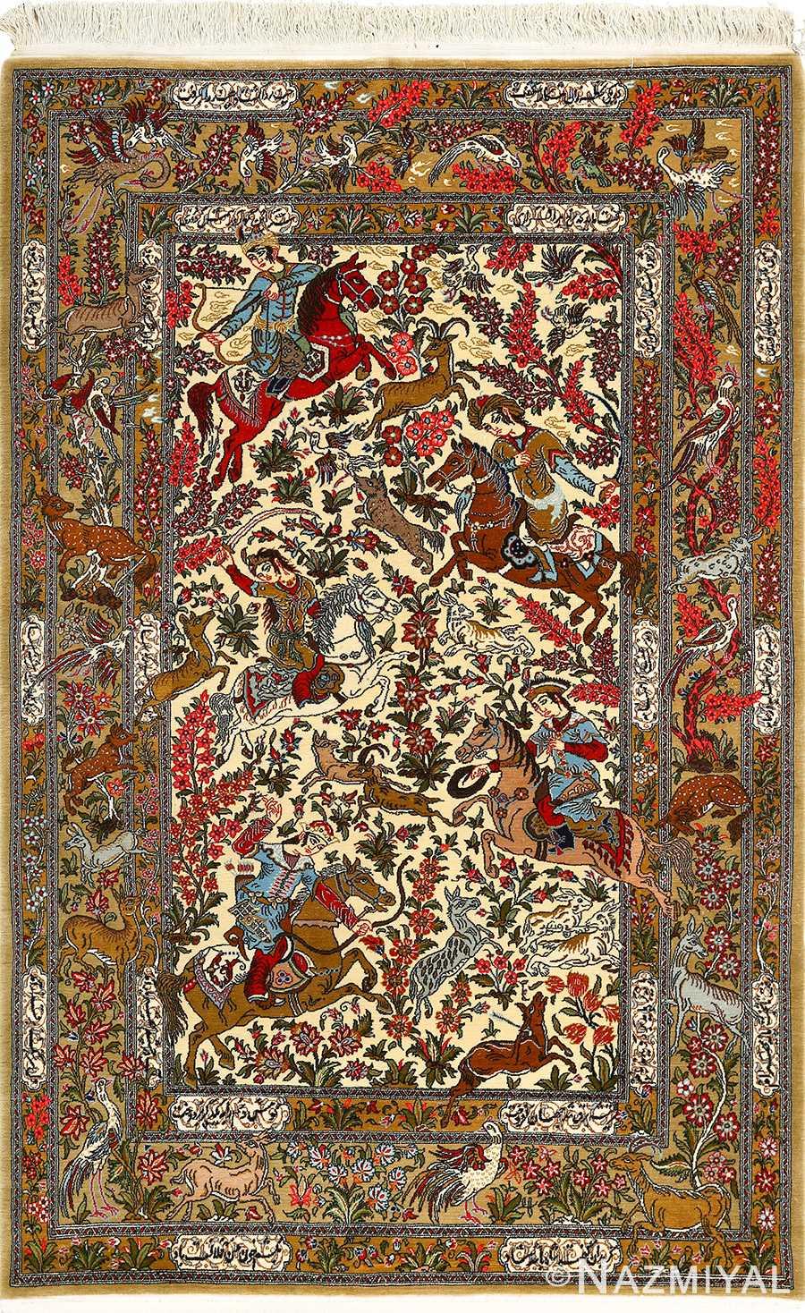 hunting scene vintage qum persian rug 51170 Nazmiyal