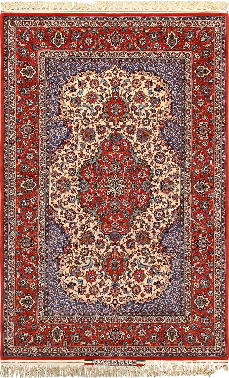 ivory vintage isfahan persian rug 51165 Nazmiyal