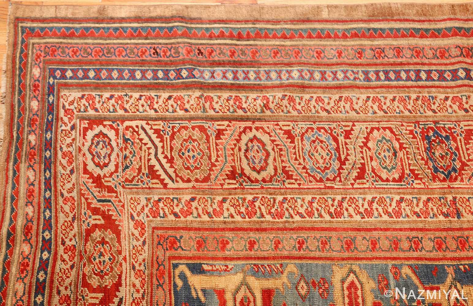 large blue background antique bakshaish persian rug 49299 corner Nazmiyal