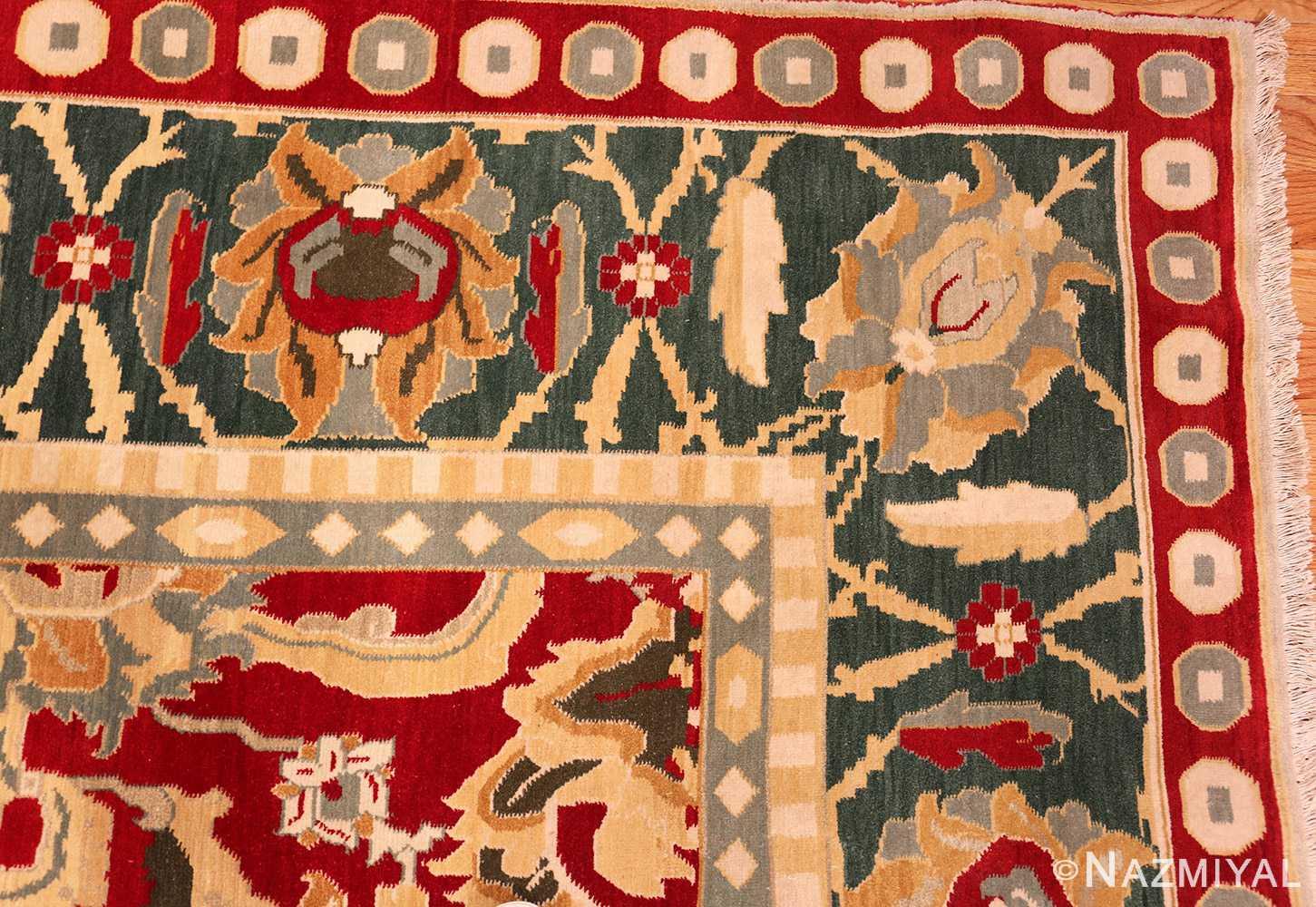 large red antique agra indian rug 49304 corner Nazmiyal