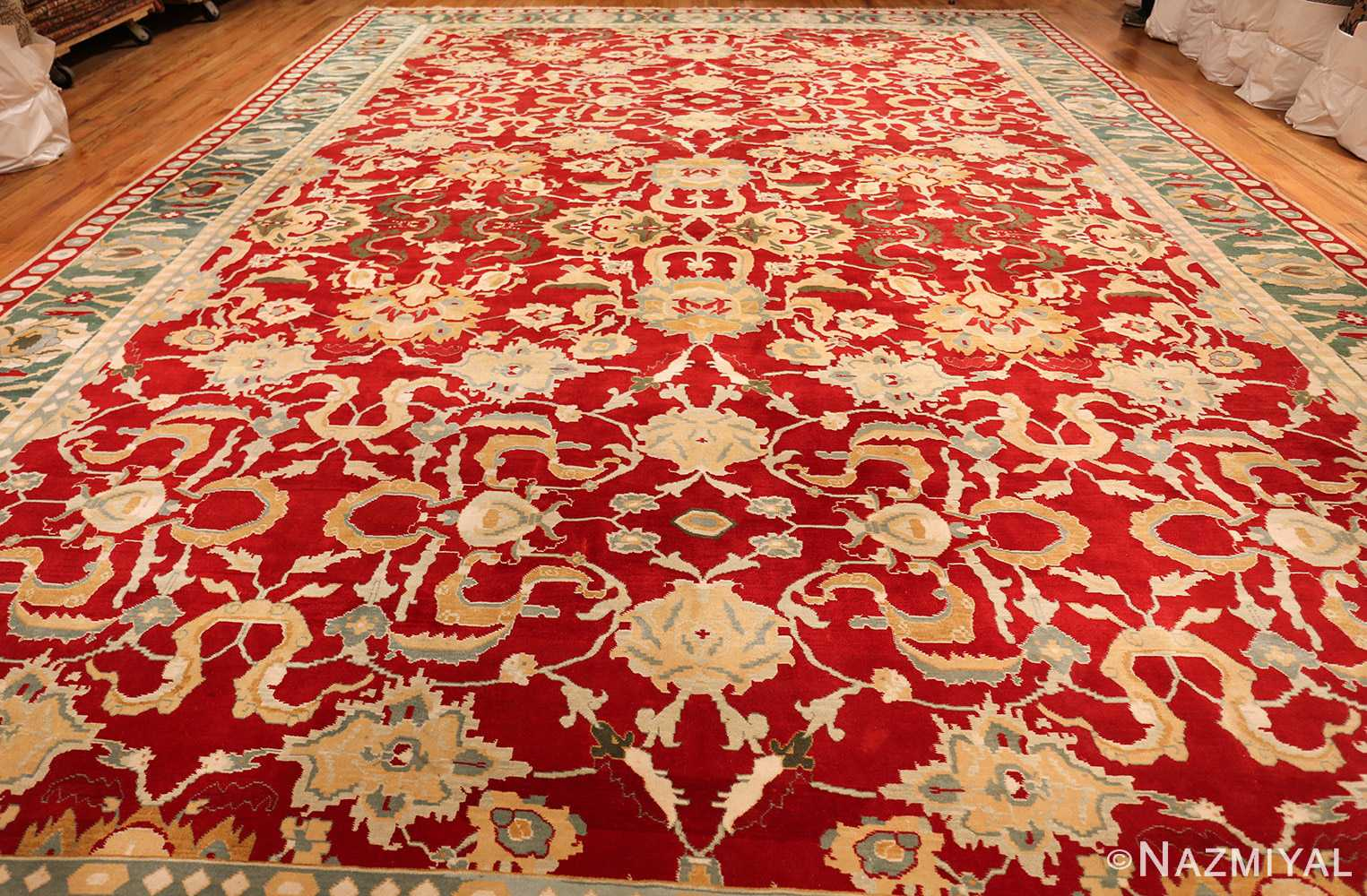 large red antique agra indian rug 49304 whole Nazmiyal